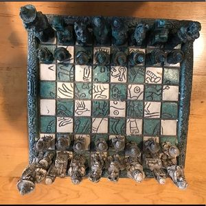 Authentic Aztec Mayan chess set